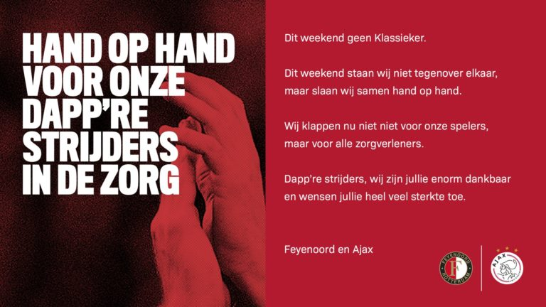 Ajax and Feyenoord honor healthcare personnel in joint ads in Dutch newspapers